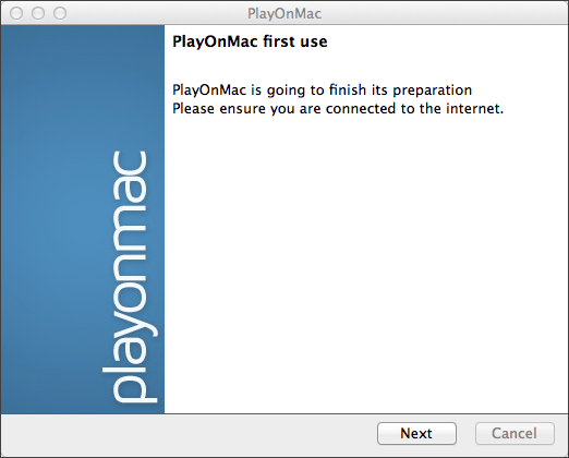 PlayOnMac first launch