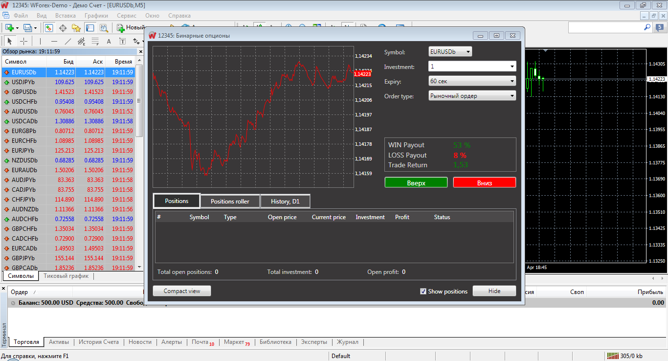 Binary options terminal